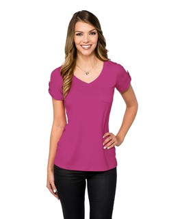 Chloe-Womens S/S Sleeve V-Nick Pocket Tee