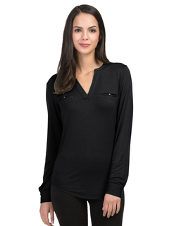 Alexandra-Split Neck Top-