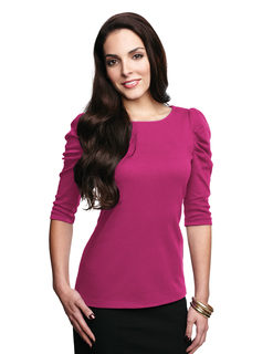 Naomi-Womens 3/4 Sleeve Scoop Neck Pullover