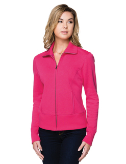 Anna-Womens 10 Oz. 60% Cotton/40% Polyester Fleece Full-Zip Jacket-Lilac Bloom