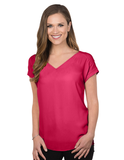 Giselle-Womens Short Sleeve Vneck Blouse-