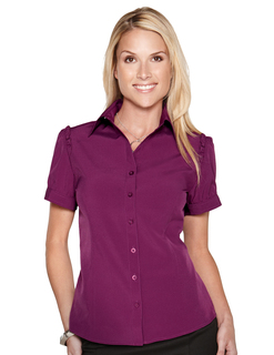 Lily-Womens Short Sleeve Shirt w/Ruffle At Shouder Along Arm
