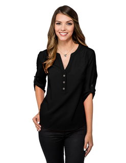 Amelia-Womens 96% Polyester 4% Spandex 3/4 Sleeve Woven Tunic With Y-Neck,