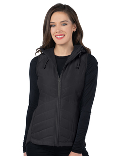 Harper-Womens Quilted Hooded Vest-
