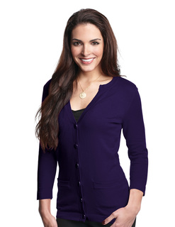 Isabella-Womens 3/4 Sleeve Sweater Cardigan