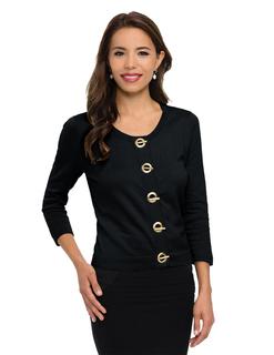 Vivienne-Womens 82% Cotton/18% Nylon 3/4-Sleeve Crop Sweater Cardigan-Lilac Bloom