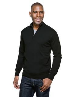 Quentin-Mens 82% Cotton/18% Nylon Fine Gauge 1/4-Zip Sweater-Tri-Mountain