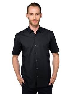 Gavin-Mens 68% Cotton/27% Polyester/5% Spandex Short Sleeve Woven Shirt-