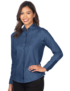 Dionne-Womens Long Sleeve Denim Shirt-Tri-Mountain