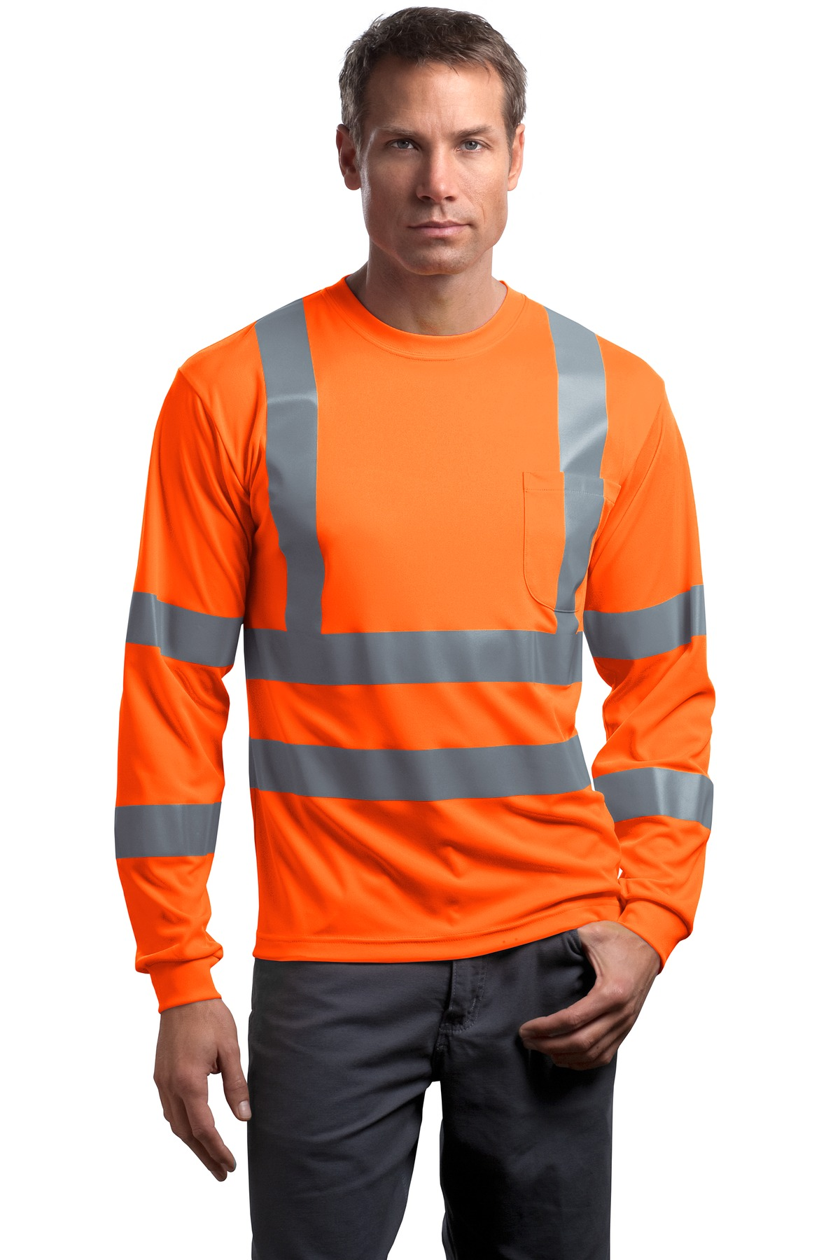 CornerStone® - ANSI 107 Class 3 Long Sleeve Snag-Resistant Reflective T-Shirt.
