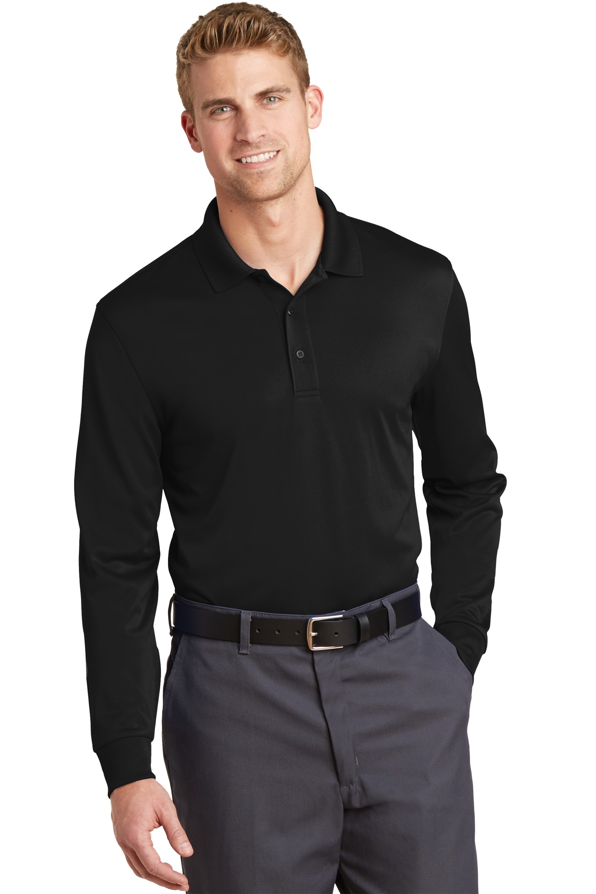 CornerStone® Select Snag-Proof Long Sleeve Polo.-CornerStone