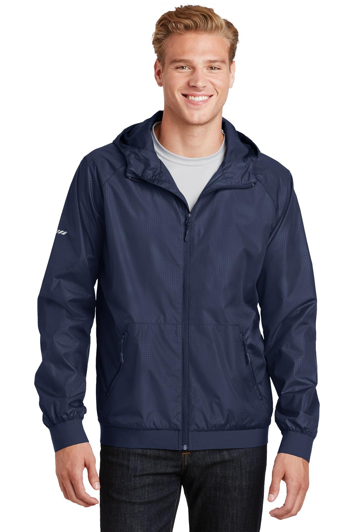 Men's Embossed Hooded Wind Jacket-Sport-Tek
