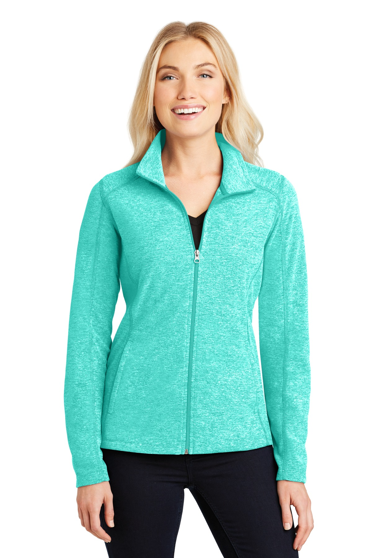 Port Authority® Ladies Heather Microfleece Full-Zip Jacket.-