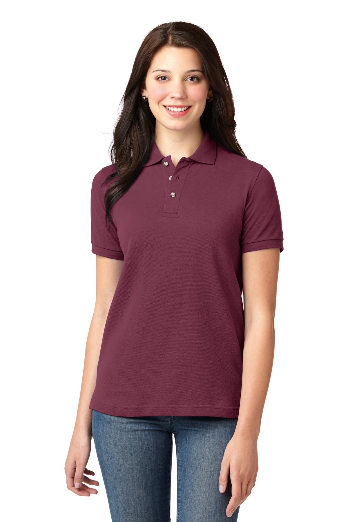 Port Authority® Ladies Heavyweight Cotton Pique Polo.-Port Authority