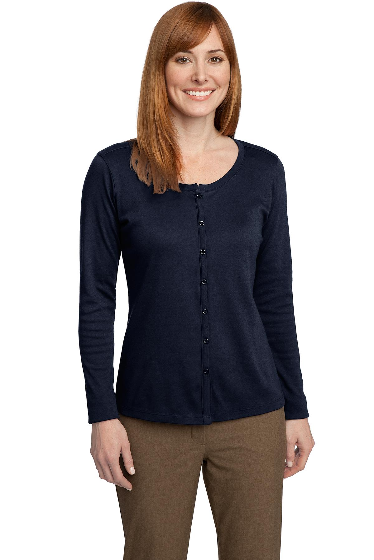 Port Authority® Ladies Silk Touch Interlock Cardigan.-Port Authority