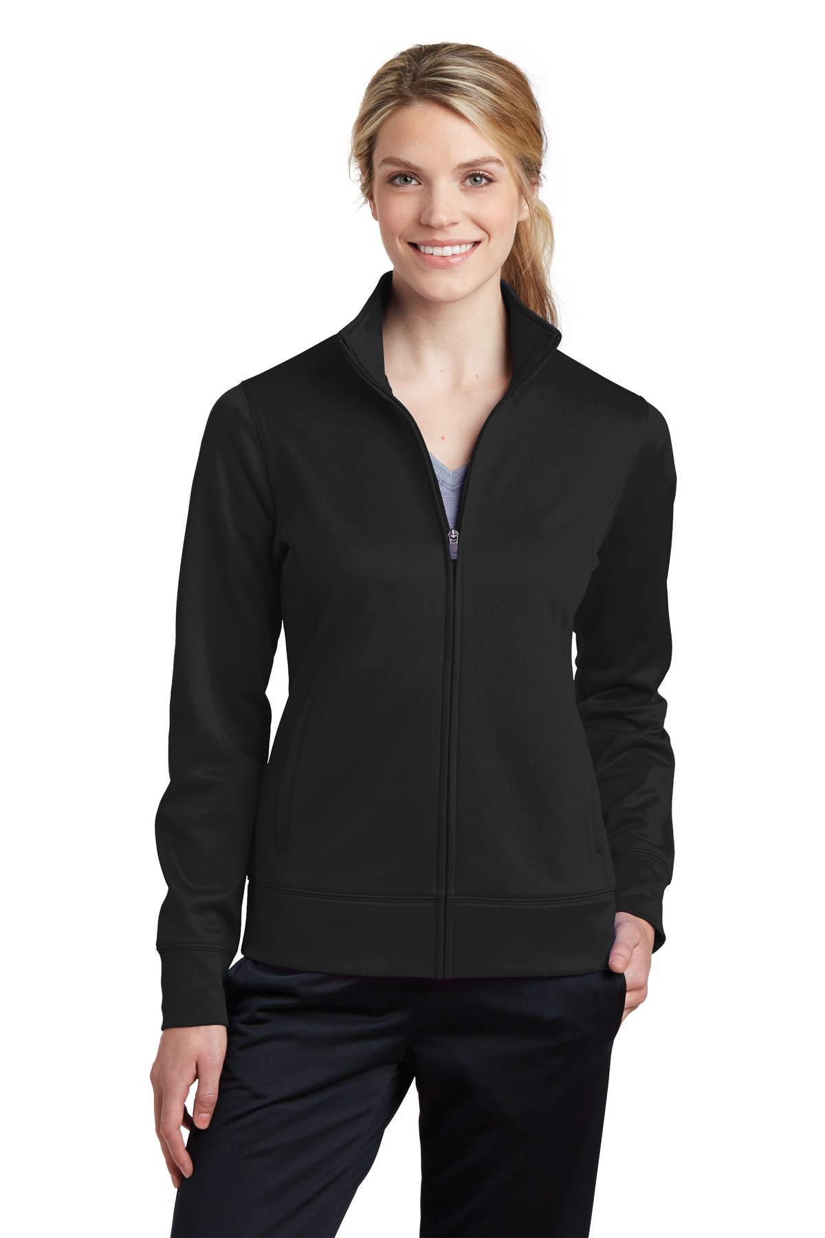 LST241 Sport-Tek® Ladies Sport-Wick® Fleece Full-Zip Jacket.-Sport-Tek