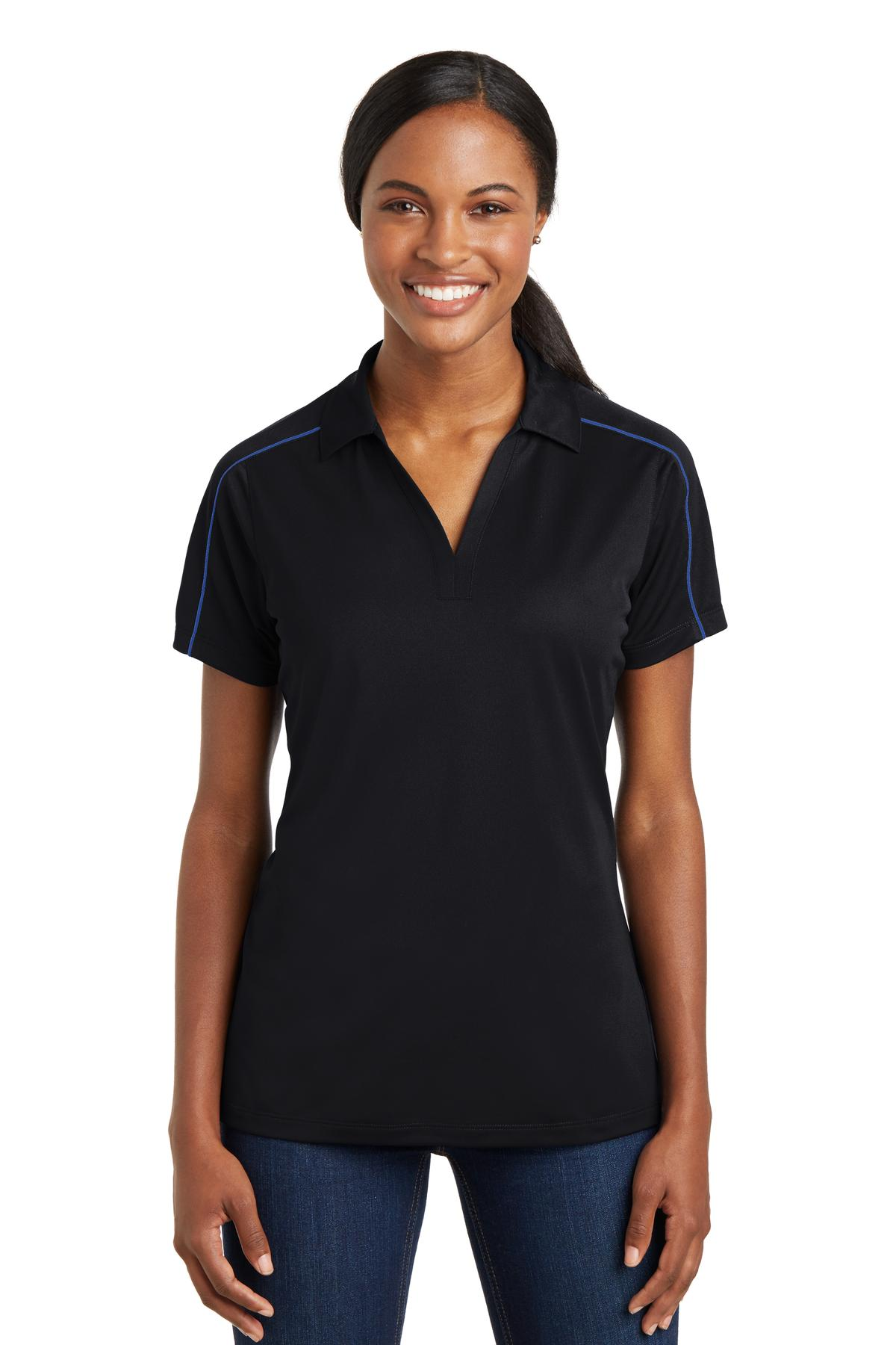 Sport-Tek® Ladies Micropique Sport-Wick® Piped Polo.-Sport-Tek