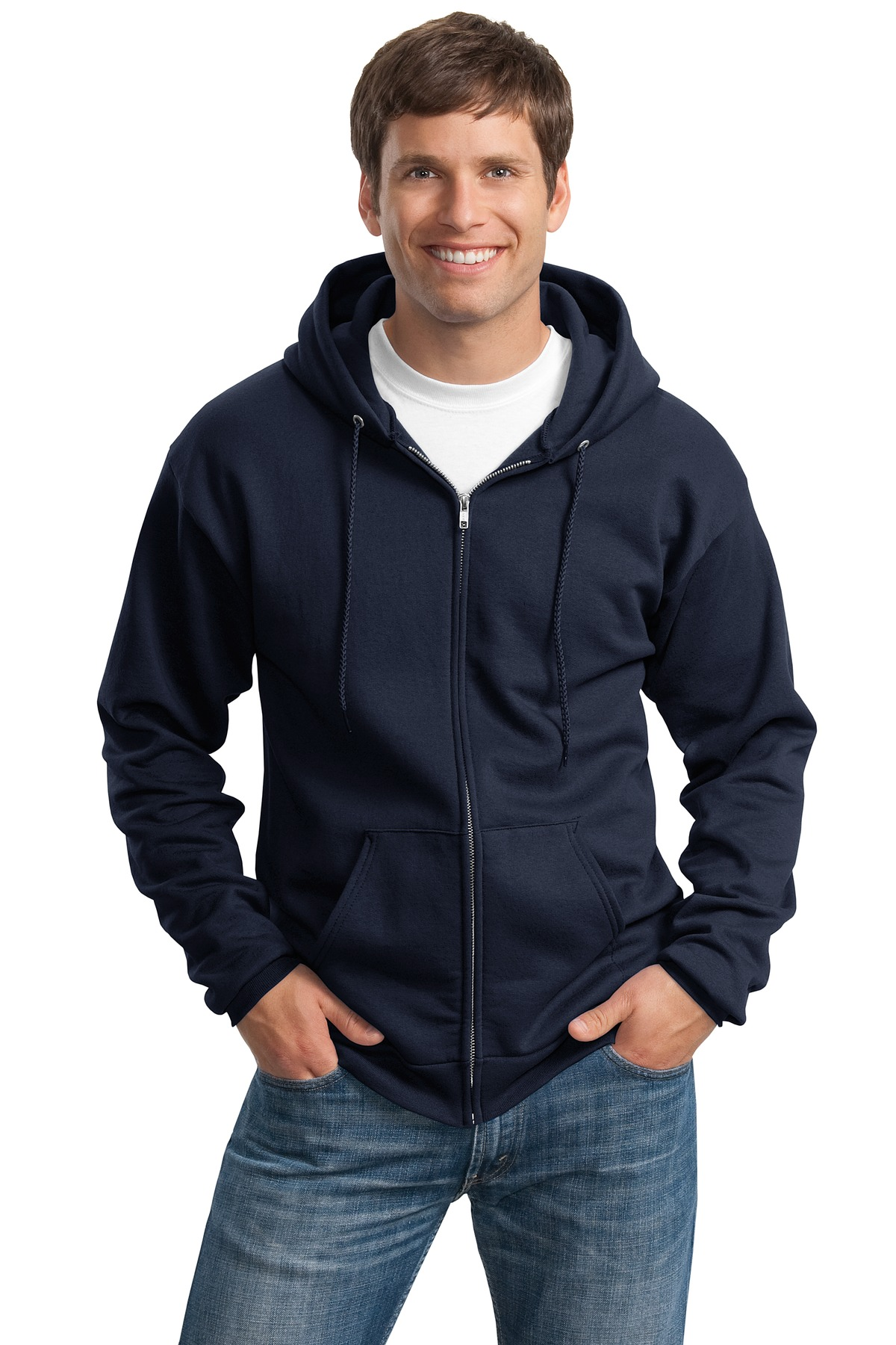 Full-Zip Hooded Sweatshirt Embroidered with Granite Nutrition Logo, Tall-Port & Company