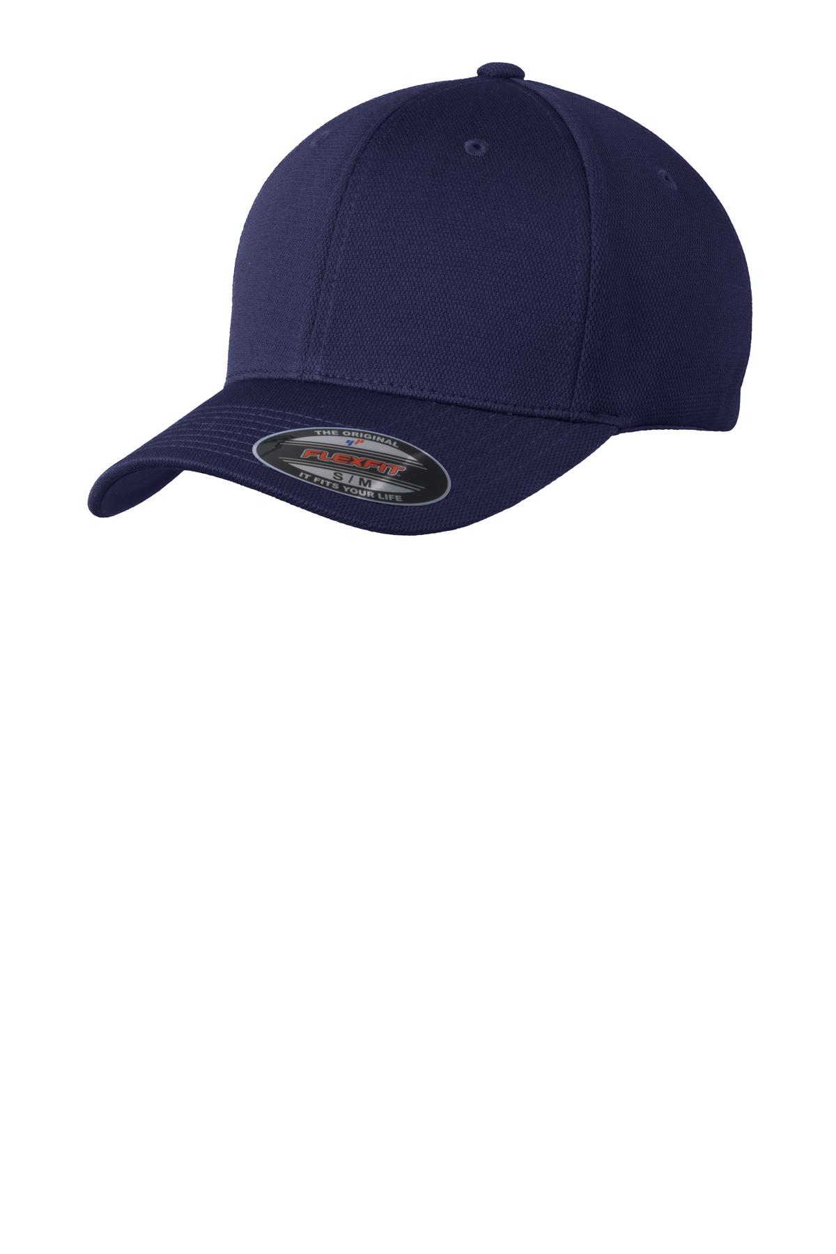 Navy Fitted Sport-Tek® Flexfit® Cool & Dry Poly Block Mesh Cap-Sport-Tek