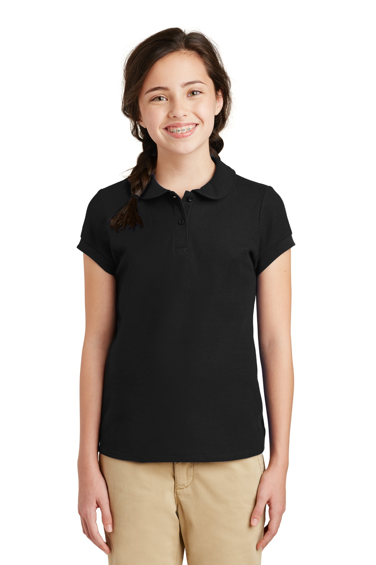 Buy Port Authority Girls Silk Touch Peter Pan Collar Polo Port