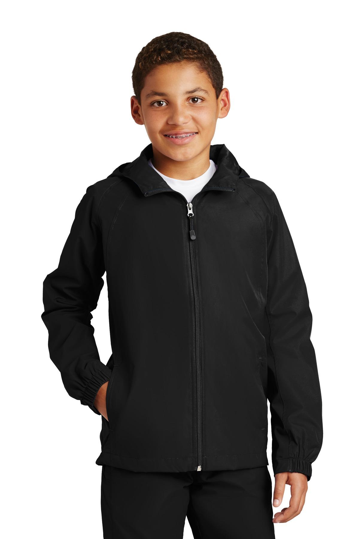 Sport-Tek Youth Stylish Sporty Hooded Raglan Sleeve Jacket Forest Green