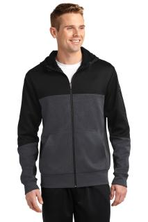 Sport-Tek® Tech Fleece Colorblock Full-Zip Hooded Jacket.