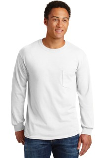 Gildan - Ultra Cotton 100% Cotton Long Sleeve T-Shirt with Pocket.-