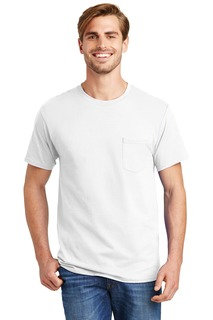 Hanes® - Tagless® 100% Cotton T-Shirt with Pocket.-Hanes