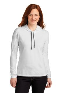 Anvil® Ladies 100% Combed Ring Spun Cotton Long Sleeve Hooded T-Shirt.