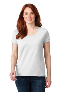Anvil® Ladies 100% Combed Ring Spun Cotton V-Neck T-Shirt.-