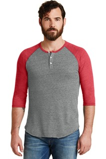 Alternative Eco-Jersey 3/4-Sleeve Raglan Henley.-Alternative Apparel