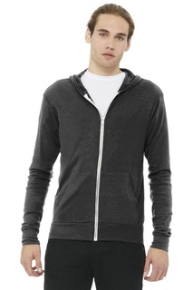 BELLA+CANVAS Unisex Triblend Full-Zip Lightweight Hoodie.-