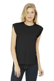Bella + Canvas Ladies Hospitality T-Shirts BELLA+CANVAS ® Womens Flowy Muscle Tee With Rolled Cuffs.-Bella + Canvas