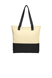 Port Authority® Colorblock Cotton Tote.-Port Authority