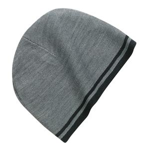 Port & Company Fine Knit Skull Cap with Stripes.-Port & Company