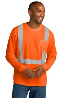 CornerStone ® ANSI 107 Class 2 Mesh Long Sleeve Tee.-CornerStone