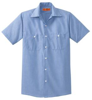 Red Kap® Long Size Short Sleeve Striped Industrial Work Shirt.-Red Kap