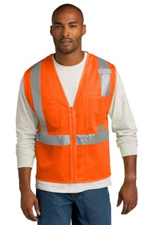CornerStone ® ANSI 107 Class 2 Mesh Zippered Vest.-CornerStone
