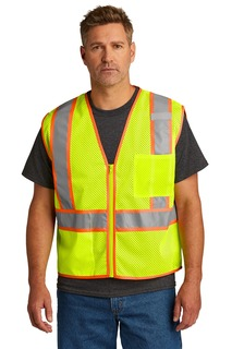 CornerStone ® ANSI 107 Class 2 Mesh Zippered Two-Tone Vest.-CornerStone