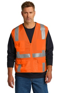 CornerStone ® ANSI 107 Class 2 Mesh Six-Pocket Zippered Vest.-CornerStone