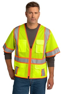 CornerStone ® ANSI 107 Class 3 Surveyor Mesh Zippered Two-Tone Short Sleeve Vest.-CornerStone