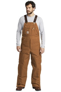 Carhartt ® Duck Quilt-Lined Zip-To-Thigh Bib Overalls.-