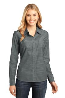 District Made® - Ladies Long Sleeve Washed Woven Shirt.