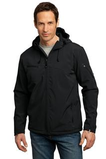 Port Authority® Textured Hooded Soft Shell Jacket.-