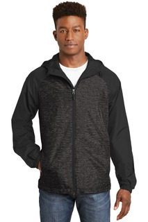 Sport-Tek® Heather Colorblock Raglan Hooded Wind Jacket.-