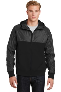 Sport-Tek® Embossed Hybrid Full-Zip Hooded Jacket.