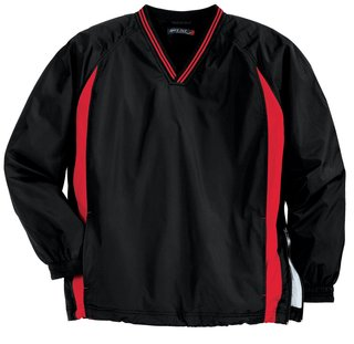 Sport-Tek® Tall Tipped V-Neck Raglan Wind Shirt.