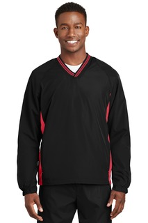 Sport-Tek® Tipped V-Neck Raglan Wind Shirt.-