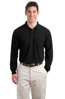 Port Authority® Long Sleeve Silk Touch Polo with Pocket.-Port Authority