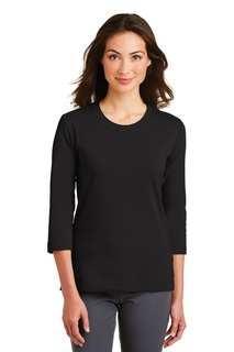 Port Authority® Ladies Modern Stretch Cotton 3/4-Sleeve Scoop Neck Shirt.